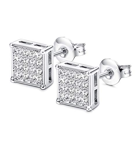 Silver Square Stud - Sllaiss Square Shaped Stud Earrings 925 Sterling Silver needle Earring for Women Girls Made with Swarovski Crystals