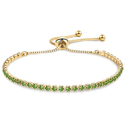 Zealmer Shoopic Olive Green Cubic Zirconia Adjustable Bolo Bracelet Yellow Gold