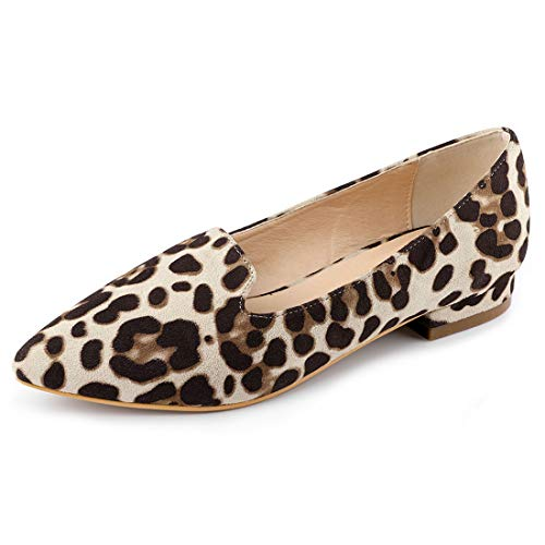 Allegra K Women's Slip On Padded Insole Pointed Toe Loafer Leopard-2 Flats - 7.5 M US