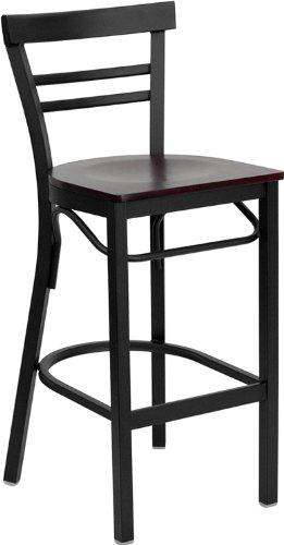 Flash Furniture Hercules Series Black Ladder Back Metal Restaurant Bar Stool