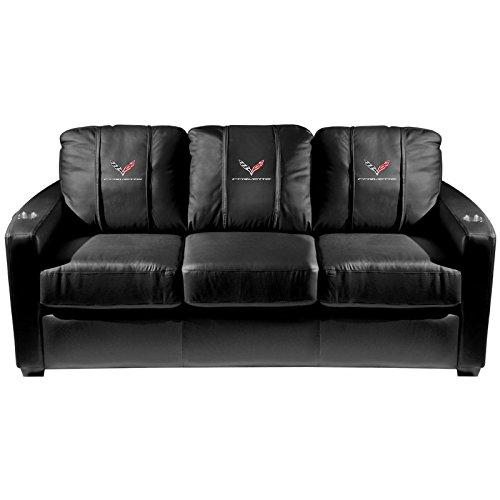 XZipit GM Silver Sofa with Corvette C7 Logo Panel, Black