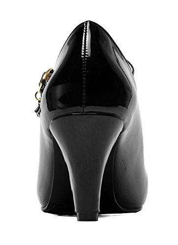 quality design 34ad2 6cf94 YE Damen Mary Jane Pumps Blockabsatz Lack High Heels mit Schnalle 7cm  Absatz Bequem Schuhe Schwarz ...