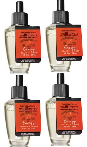 Bath and Body Works 4 Pack Aromatherapy Energy Orange & Ginger Wallflower Fragrance Refill 0.8 Oz