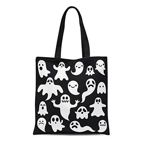 (Semtomn Canvas Bag Resuable Tote Grocery Adorable Shopping Portablebags Cartoon Scary White Ghosts on Halloween Celebration Graphic Cute Haunted Natural 14 x 16 Inches Canvas Cloth Tote)