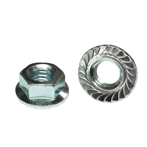 (10) 7/16-20 Hex Serrated Flange Nuts Case Hardened Zinc Clear
