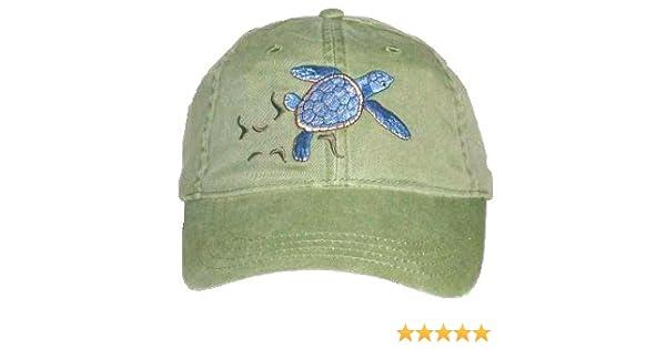 a5aa267a796 Amazon.com  Loggerhead Sea Turtle Embroidered Cotton Cap Green  Clothing