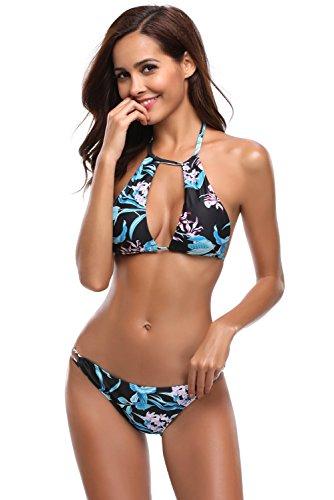 E A Bagno Verde Bikini Costume Da Foglia Dromild Stampa Balze Con Nero ZqY87UwUA