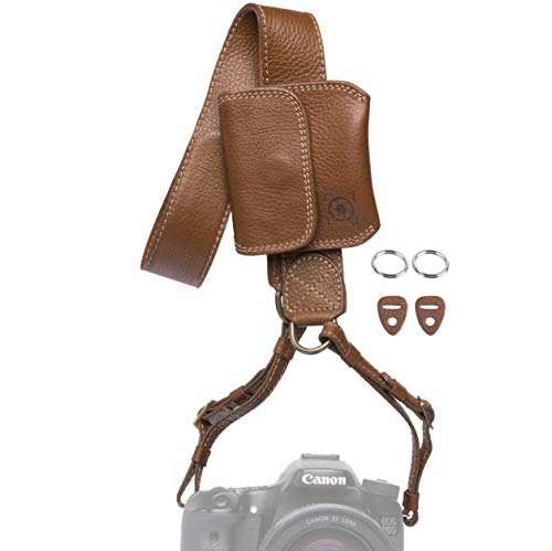 Inspire In Time Universal Camera Neck Strap | Durable Genuine Leather | Adjustable Straps | for Canon, Sony, Olympus, Nikon, Leica, Panasonic, Fuji; DSLR, Mirrorless | Removable Lens Cap -