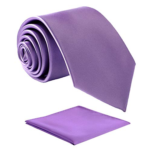 (Fortunatever Classical Men's Solid Necktie With Gift Box+Pocket Square (Lavender Purple))