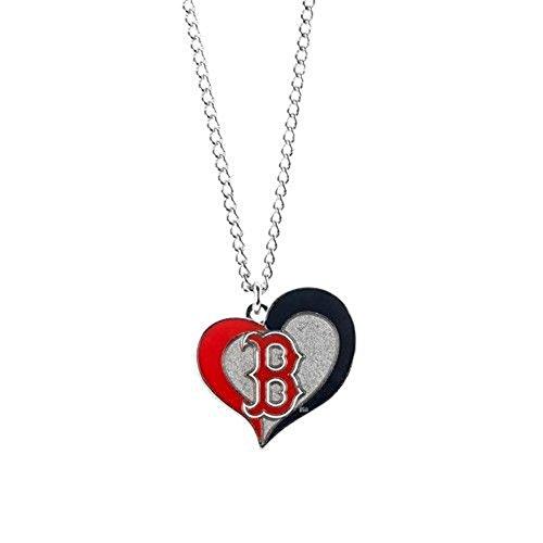 aminco MLB Boston Red Sox Swirl Heart Necklace