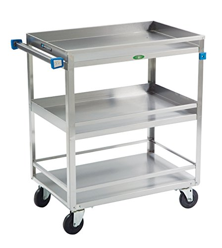 Lakeside 526 Guard Rail Utility Cart,  3 Shelves, Stainless Steel, 500 lb Capacity, 19