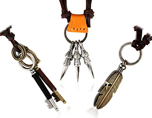 TER Men's Genuine Leather Cord Eagle Claw Double Keys Double Feather Pendant with Size Adjustable Russian Knot Necklace Set FREE Giftbox (Eagle Claw + Feather + Key Set) ()