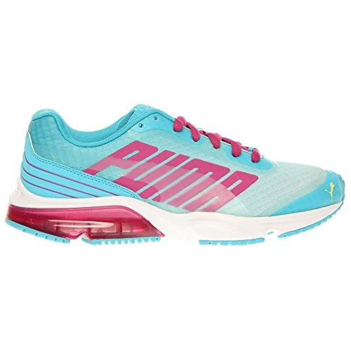 PUMA Women's Powertech Defier Fade Running Shoe,Blue Atoll/Magenta/Sunny Lime,11 B US