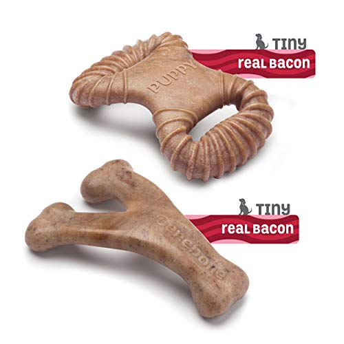 Real Bacon Made in the USA. Medium Benebone Puppy Wishbone Dog Chew Toy
