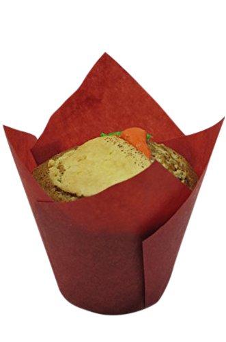 Decony 100 Piece Tulip Baking Paper Cup, (Red Tulip)
