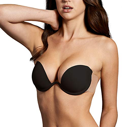 Maidenform Women's Push-Up Combo Wing Bra with Underwire and Adhesive Wings, 7, Black