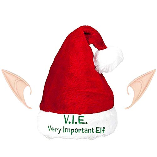 Deluxe Velvet Elf Set - Regent Christmas Elf Hat with Ears - Deluxe Very Important Elf Stocking Cap Ears Set (Christmas Elf Costume Hats Adults)