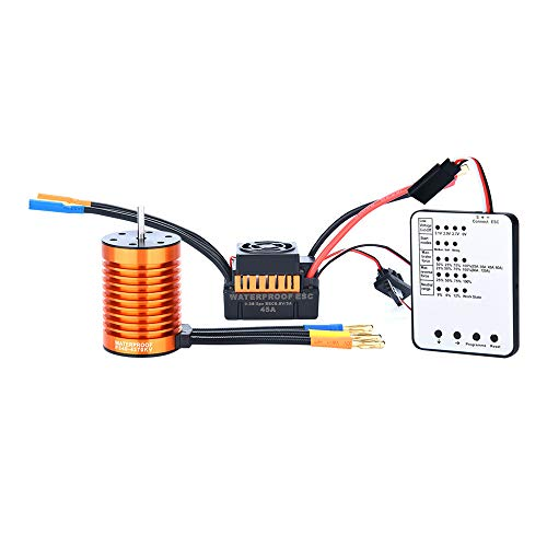 F540 4370KV Waterproof Brushless Motor&45A ESC for 1/10 RC Racing Car Boat,4 Poles with 12 Slots Design,High Purity Copper Winding (1 x Motor+1 x ESC+ Programming Card)