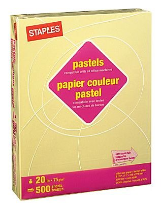 Staples Pastels Colored Copy Paper, Cream, 30% Recycled, 8 1/2 x 11 inches Letter Size, 500 Sheets Ream ()