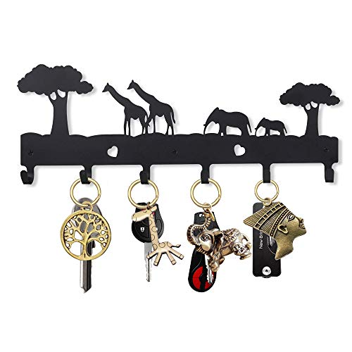 UptoBillions Key Holder for Wall Giraffe and Elephant (6-Hook Rack), Decorative Metal Wall Hook, 15.7 INCH (Length) Key Hanger, Leash Hanger