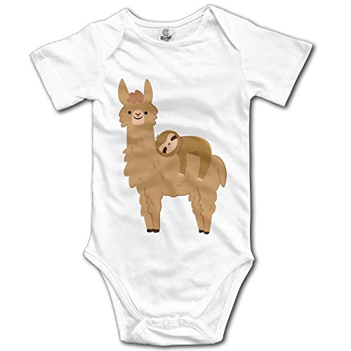 Sloth Sleeping On Llama 100% Cotton Unisex Toddler Baby Bodysuit Outfits Short Sleeve for 0-24 - Tortoise Discount