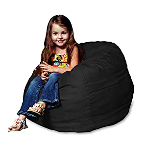 Chill Sack Bean Bag Chair: Large 2' Memory Foam Furniture Bean Bag - Big Sofa with Soft Micro Fiber Cover - Black
