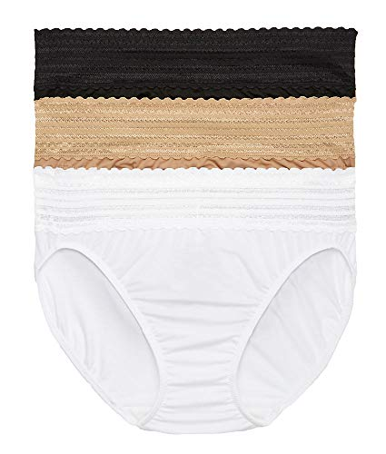Warner's Women's No Pinching No Problems with Lace Hi-Cut 3 Pack Panties, Black/Toasted Almond/White, L ()