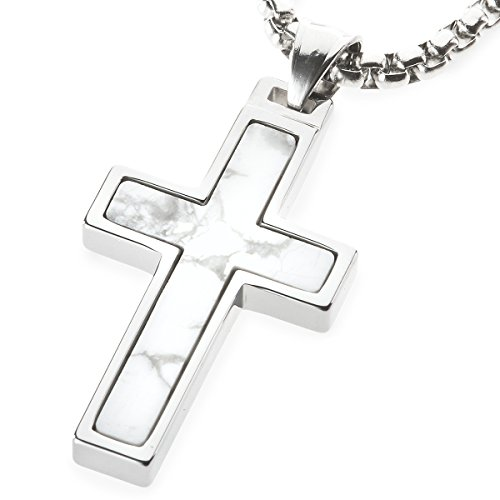 Unique GESTALT Howlite Inlay Tungsten Cross Pendant. 4mm Wide Surgical Stainless Steel Box Chain. 26 Inch Length