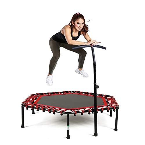 Safly Zone Mini Trampoline for Kids Adults with Adjustable Handle Bar 50in Fitness Indoor Rebounder Trainer Long Lasting Superior Bungee Cords