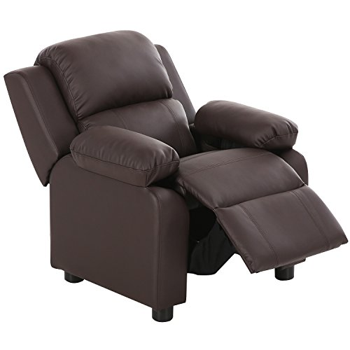 Harper&Bright Designs Kids Recliner with Storage Arms PU Leather Sofa Chair for Child (Brown)