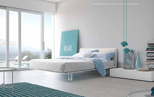 Pianca Filo: Modern Upholstered Queen Size Platform Bed. Removable Eco Leather Cover. Made in - Platform Italian Bed Modern
