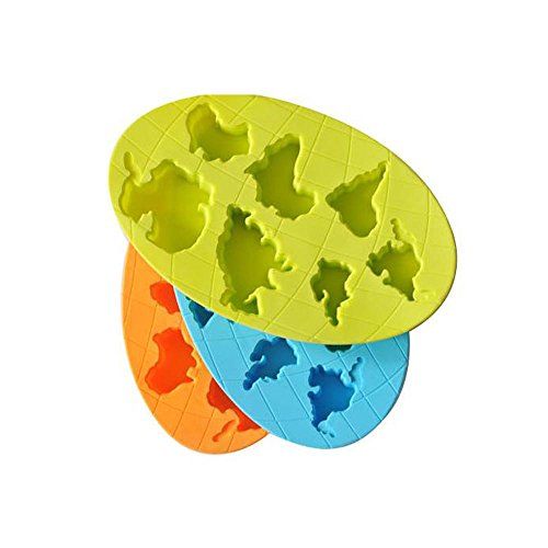 Riverbyland Continents Shape Silicone Ice Cube Trays Assorted Colors Set