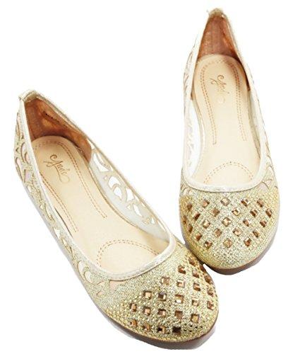 Bella Marie Dames Glitter En Mesh Detail Slip Op Ballet Flats (champagne) Ubk41a_goud