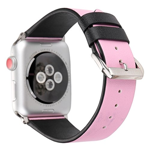 Juzzhou Band For Apple Watch iWatch Series 1/2/3 Sport Edition Leather Love Replacement Wriststrap Bracelet Wristband Wrist Strap With Metal Adapter Adjustable Clasp For Woman Man Lady Pink 42mm by Juzzhou (Image #1)