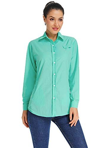 (Women's Quick Dry Sun UV Protection Roll Up Sleeve Hiking Shirts Sun Shirts Blue Size XXL)