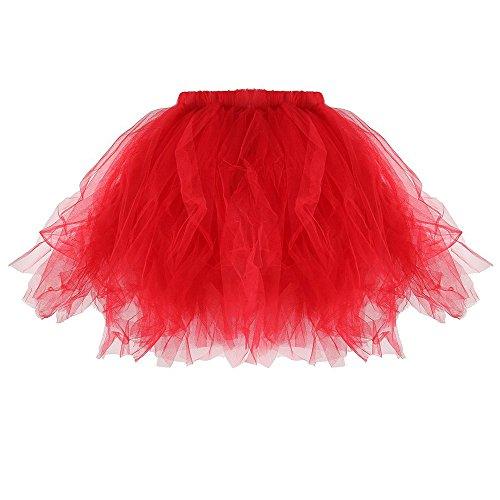 Fnkdor Année Ballet Rockabilly Petticoat Jupon Femme 50 En Tutu Tulle B Jupe Court Style Rouge RL3jA54q