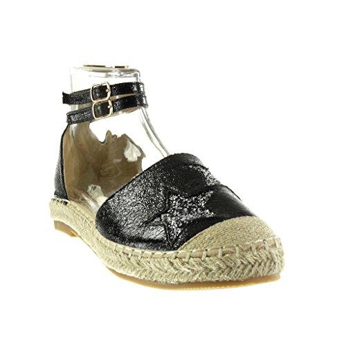 Femme CM Pailettes Espadrille Etoile Chaussure Talon Bloc 5 Brillant Mode Noir Angkorly 2 Sandale qaxwAICF
