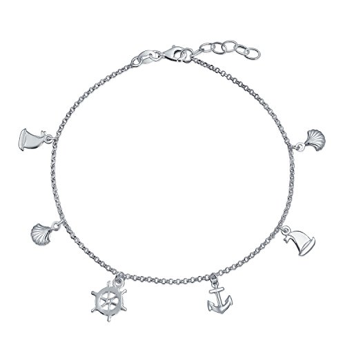 Nautical Multi Charm Dangle Anchor Sailboat Ship Wheel Sea Shell Anklet Ankle Bracelet Sterling Silver ()