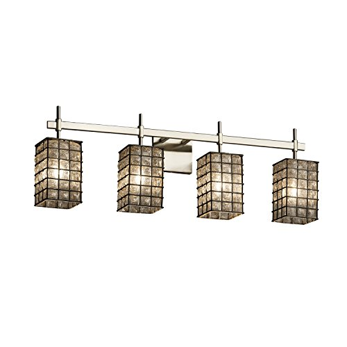Justice Design Group Glass Sconce - Justice Design Group Lighting WGL-8414-15-GRCB-NCKL Justice Design Group - Wire Glass - Union 4-Light Bath bar - Square with Flat Rim - Brushed Nickel Finish with Grid & Clear Bubbles Shade,