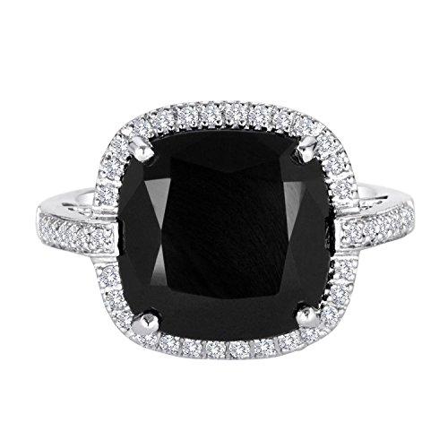 Topaz Onyx - 5ct Black Onyx Sterling Silver Cushion Ring