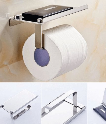 Toilet Paper Holder with Mobile Phone Storage Shelf Holders Wall Mounted Rack By USA_Best_Seller