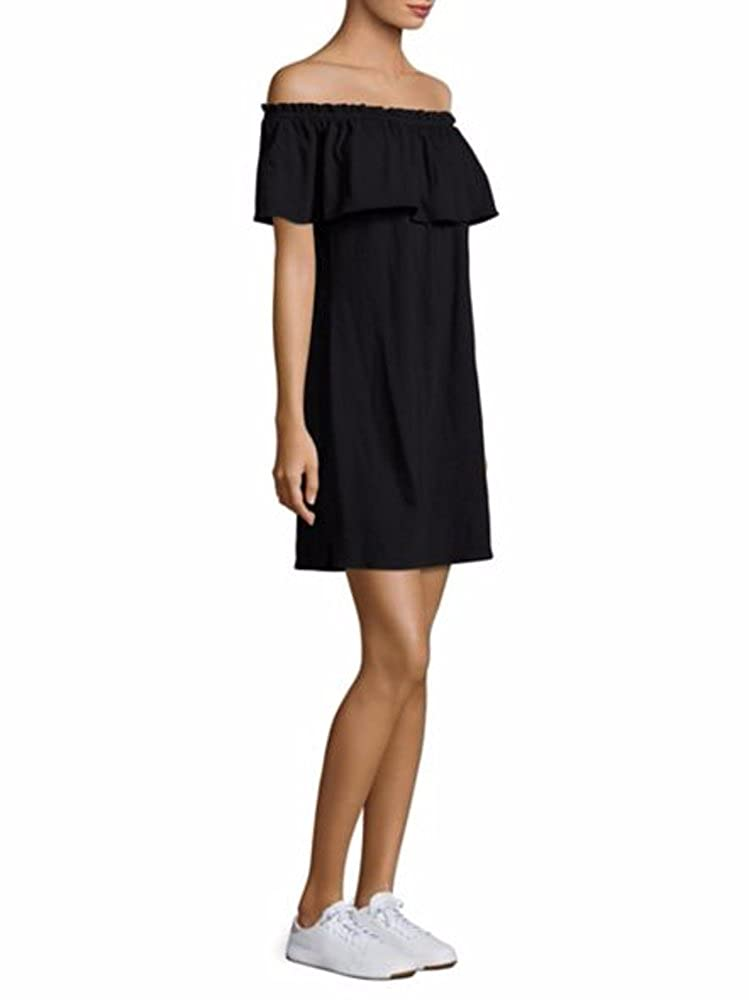 2cd5a683dd3 Current & Elliott Ruffle Off Shoulder Black Cotton Stretch Jersey Mini Dress  at Amazon Women's Clothing store: