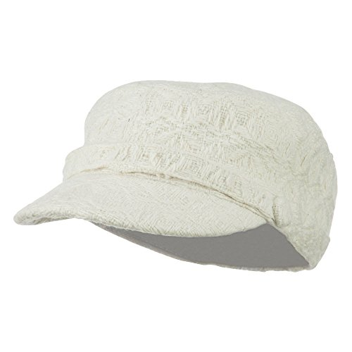 - Hatiya Knitted Army Cap with Buttons - Ivory OSFM