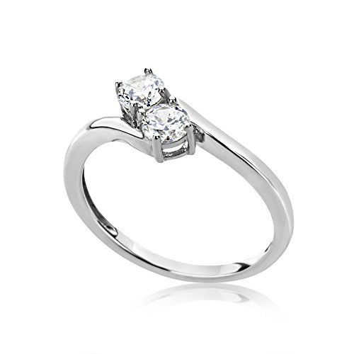 Double Accent Wedding Collection 14K White Gold 1/2 Carat Round CZ His and Her Two Stone by Your Side Ring, 7 (Stone Two Ring Bypass)