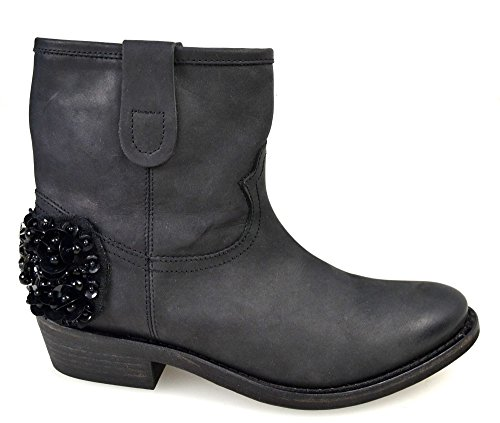 Leather Texano Twin Ankle A3 Nero Black Boot cpa3bg c set Code Woman xZTTwqgY