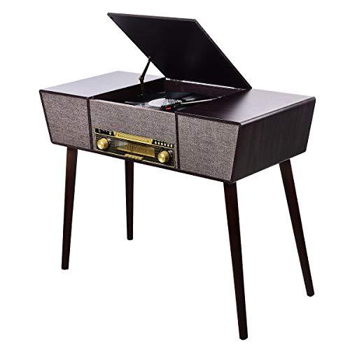 JORLAI Vinyl Record Player 8 in 1 3 Speed Bluetooth