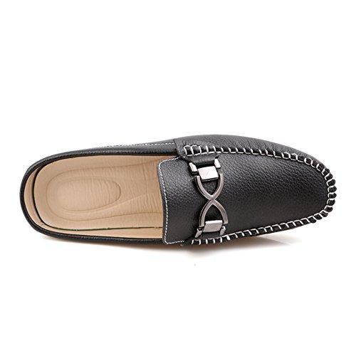 Santimon Heren Gesp Lederen Slippers Instappers Loafers Schoenen Vrije Loafers Zwart