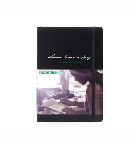 Leuchtturm1917 'Some Lines a Day' 5 Year Black Memory Book - German Ribbon