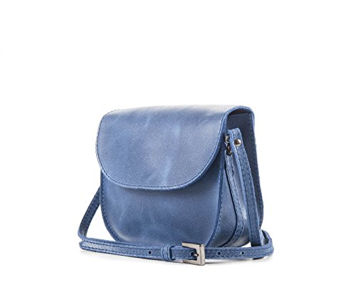 Eva Blau Band - Elegante Damen Handtasche mit Schulterklappe echtem Vintage-Leder ungefüttert - PassioneBags - made in Italy