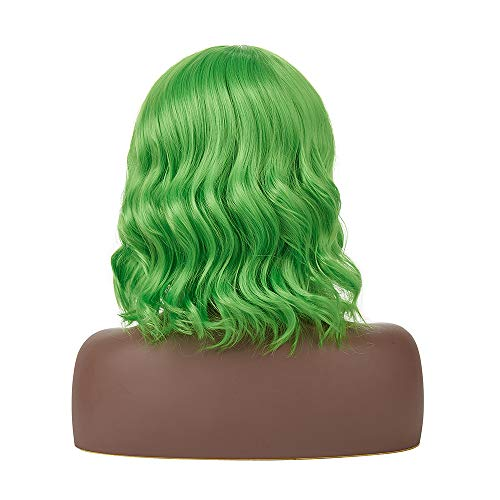 HAIR H&N HUMAN AND NATURAL 14'' Short Green Wigs for Women Colorful Wig with Bangs Synthetic Costume Wigs Halloween Party Daily Use Fun Wigs + Free Wig Cap]()